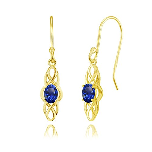 Yellow Gold Flashed Sterling Silver Created Blue Sapphire Celtic Knot Oval Dangle Drop Earrings