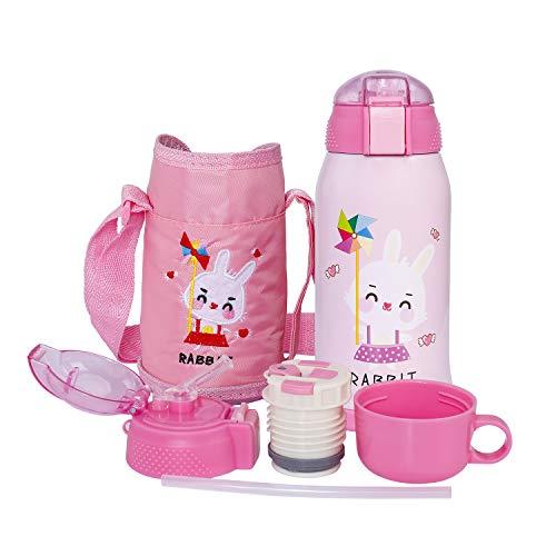 Vakuum Thermosflasche für Kinder Edelstahl Trinkflasche Mit Strohhalm, Doppelwandig Wasserflasche, Isolierflasche Familie BPA-Frei Auslaufsicher Geeignet für die Schule, im Freien,550ml Rosa