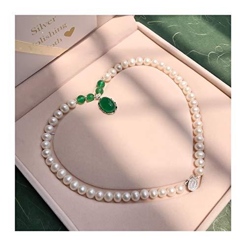 DDDCM Collar de Perlas de Agua Dulce Natural Día de la Madre Águila Piedra Colgante Día de la Madre Regalo de cumpleaños para Ancianos (Color : Classic A)