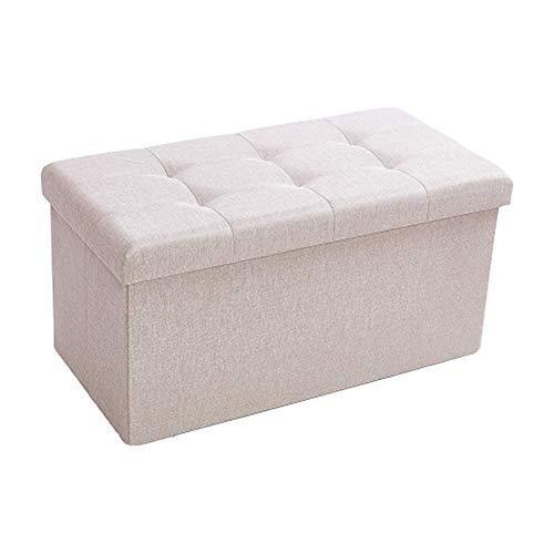 Zedelmaier Sitzhocker Sitzbank faltbar mit Stauraum belastbar bis 300 kg 76 x 38 x 38 cm (Leinen - Beige)