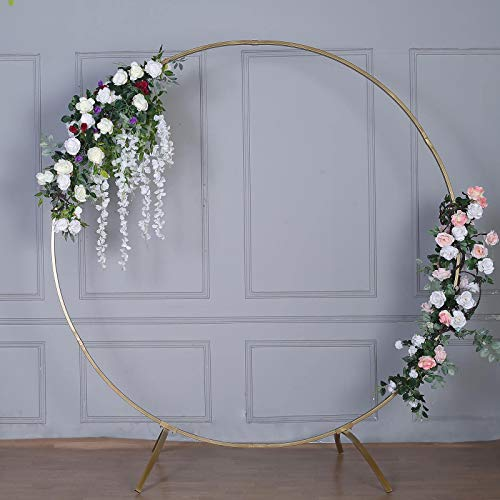 Efavormart 7.5 Ft Round Gold Metal Wedding Arch Photo Booth Backdrop Stand - 100 Lbs Capacity