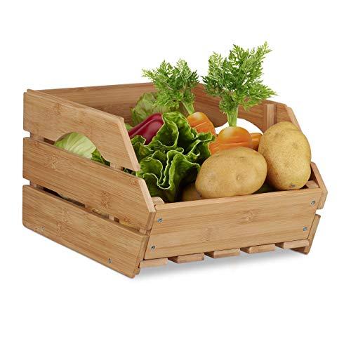 Relaxdays Universal Stapelkiste aus Bambus Holz, offene Aufbewahrungsbox, stabil, Stapelbox HxBxT: 20,5x27x38 cm, natur