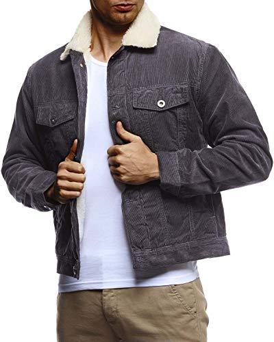 Leif Nelson Herren Kordjacke Basic Stretch Jacke mit Reverskragen innen gefüttert Reverskragennjacke Übergangsjacke Freizeitjacke Slim Fit LN9610 Größe S Anthrazit