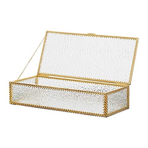 NOBGM Terrarium Glas ZubehöR Schmuckschatulle Gold Spiegeltablett Deko Tablett Goldene Klein ParfüM Organizer Glasbox Glaskasten Glaskiste Groß BüRo,Clear