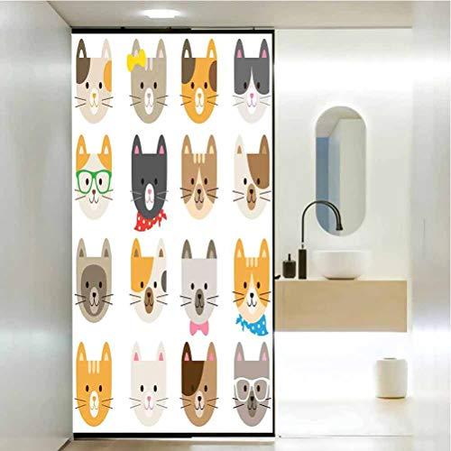 Pelcula decorativa de cristal para ventana, disfraz de gatos con gafas, pajarita, cartografa, pelcula de vidrio para el hogar, para bao, reunin, Living Ro, 35.4 x 78.7 pulgadas