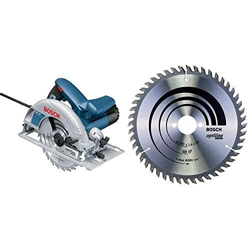 Bosch Professional 0601623000 Scie Circulaire GKS 190 (1400 W, 190 mm) Bleu 25,4 cm & Lame de Scie Circulaire, 48 Dents, 30mm d'Alésage, 2.6mm Largeur de Coupe, 1.6mm Épaisseur du Corps, 190mm