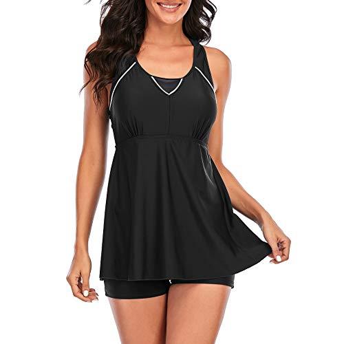 Zando Bathing Suits for Women Tummy Control One Piece Swimsuits Womens Swimwear Swimdress Slimming Swim Dress Black 10-12