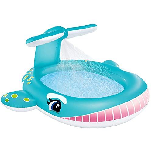CMAO Piscina Inflable para niños en el Patio, Piscina de Chorro de Agua en el jardín, Juego de Bolas de océano Plegable-6.6 * 6.4 * 3 pies_Ballena