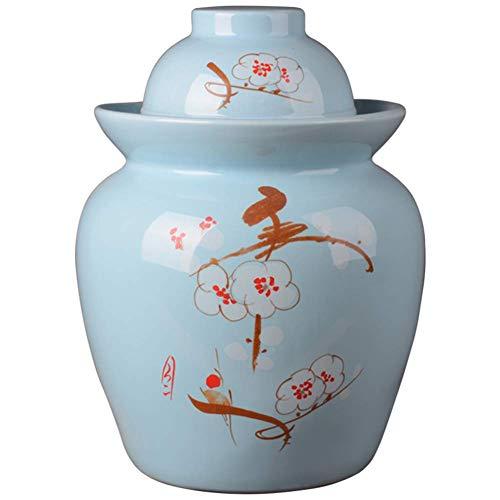 HIGHKAS Vorratsglas, Keramikgurkenglas, Kimchi-Topf Eingelegtes Gemüsekohl Versiegelter Behälter Sauerkraut-Vorratsglas Das Einfache, 0,75 l