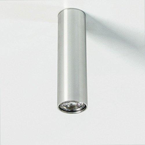 s.LUCE Aufbau-Deckenleuchte Pole M 20cm Alu-Glänzend Deckenlampe Aufbaulampe Strahler Spot Lampe Leuchte design modern