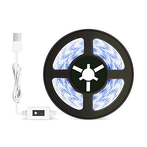 Tira LED armario con sensor de movimiento 3 m luz LED armario USB para cocina escaleras dormitorio flexible y recortable (fría)
