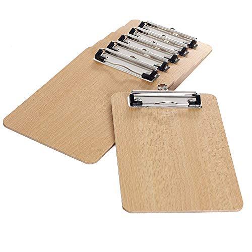 Clip per tavole in legno, formato A5, con pinza, 6 pezzi