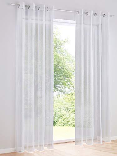 Heine Home Set (2) schlichter Dekostore Transparent kleine Noppen Ösenaufhängung, Vorhänge+Fertigdeko:HxB 225 x 140 cm
