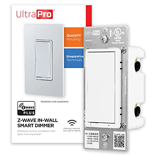 UltraPro Z-Wave Plus Smart Light Dimmer Switch, In-Wall White Paddle | Repeater Range Extender | ZWave Hub Required - Alexa and Google Assistant Compatible, 39351