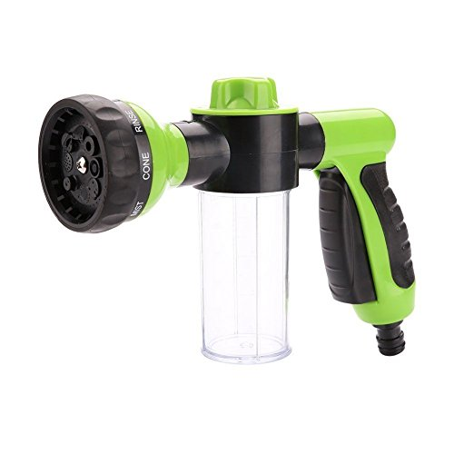 Yinarts Multifunctional Spray Nozzle Sprayer Gun High Pressure Foam Water Spray Gun+ Microfiber Wash Mitt-8 Spray Patterns Built-in Soap Dispenser Water Saving Green color