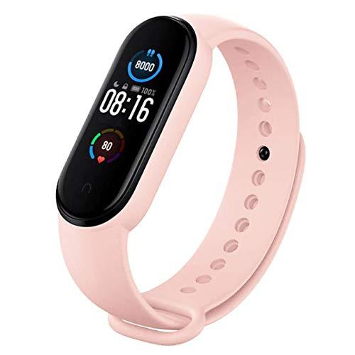 Xiaomi Mi Band 5 SFL Colourways Fitness Tracker 5ATM Seguimiento de sueño impermeable Monitor de ritmo cardíaco Modo de natación NUEVO 2021 (rosa claro)