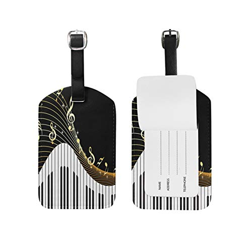 Etiquetas de equipaje para piano con notas musicales, color negro