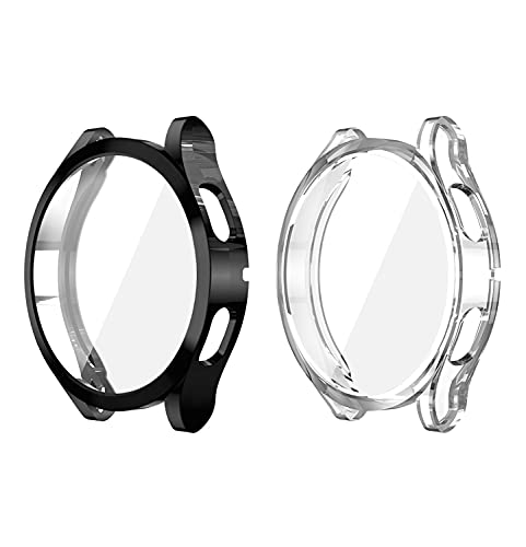 ZBTOP Case Compatible for Samsung Galaxy Watch 4 44mm 40mm, Soft TPU Plated 360 all-Around Screen Protective Cover with Built-in Screen Protector (44mm,2Pcs-A)