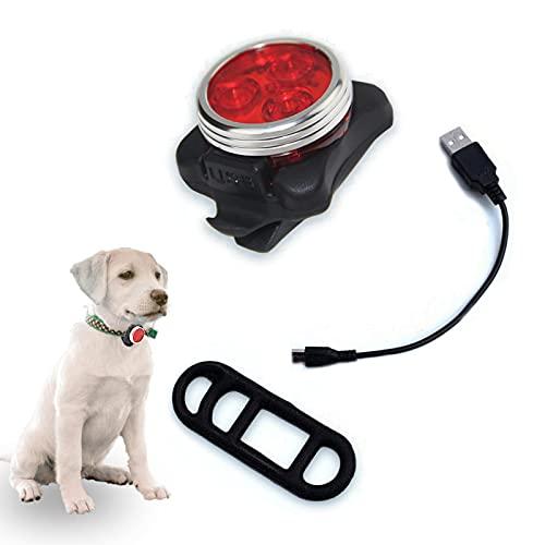 Luces de Seguridad para Perros Collar Luz Colgante Luz Mascota LED Noche Se Puede Cargar a través de USB Impermeable Led Luz Collares para Perro 4modos de Parpadeo Rojo