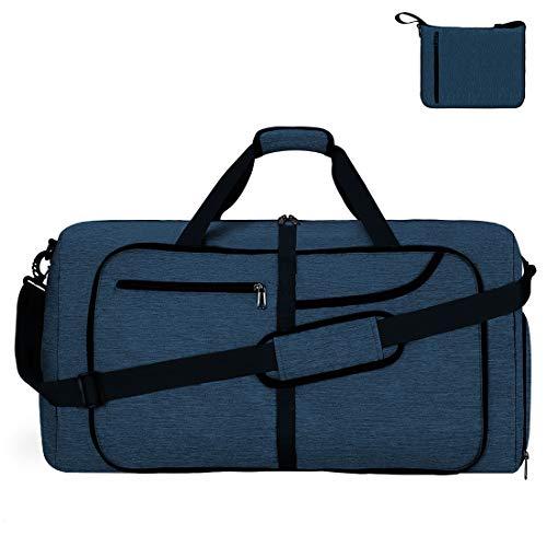 NEWHEY ボストンバッグ 折りたたみ バッグ メンズ 大容量 修学 旅行 収納バッグ スポーツバッグ ダッフルバッグ YKK 防水 軽量 ジムバッグ 3way 65L ネイビー