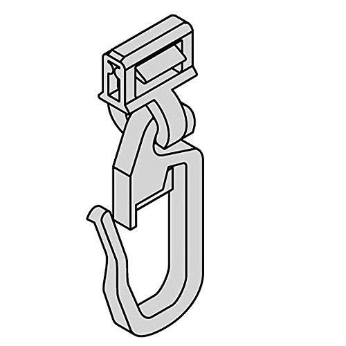 Gardinen Clic-Gleiter mit Faltenhaken lang HINNO HC 72, für Aluminium Gardinenschienen mit 4 mm Spurbreite