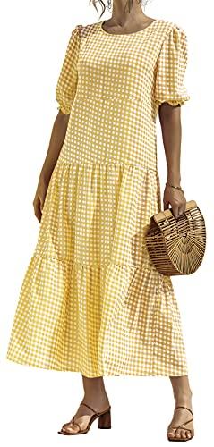 Zesoyne Vestido largo suelto de manga abombada con estampado a cuadros de lunares para mujer, amarillo, 40