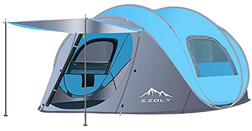 Ezoly, tenda pop-up per 3-4 persone, tenda automatica per 2 secondi di installazione, impermeabile, antivento, anti-UV, tenda da campeggio per famiglia(blu))