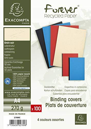 Exacompta 2789C - Lote de 100 cubiertas/cartulinas de dossiers, A4, multicolor