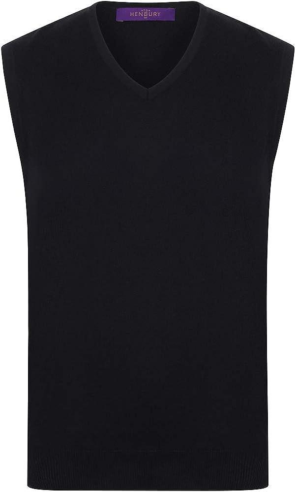 Henbury Mens Sleeveless 12 Gauge V-Neck Fine Knit Jumper