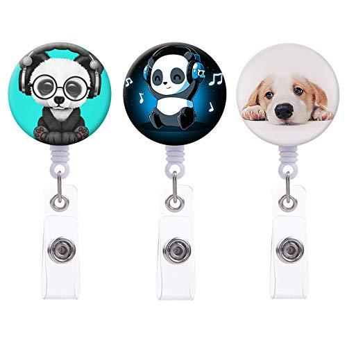 Badge Reel, Cute Panda & Puppy Retractable Badge Holder Carabiner Reel Clip On ID Card Holders for Girl, Women, Nurse,Student, Teacher, 24 Inch Nylon Cord, 3 Pack