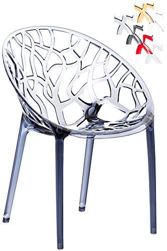 CLP Design-Gartenstuhl Crystal aus Kunststoff I Wetterbeständiger Stapelstuhl mit Einer maximalen Belastbarkeit von 160 kg I wählbar Grau