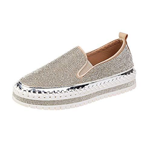 FRAUIT Scarpe Donna Ginnastica Alte Glitter Mocassini Ragazza Con Zeppa Estivi Scarpe Donne Estive Con Tacco E Plateau Sneakers Estive Loafers Slip On