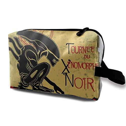 Hdadwy Bolsa de Maquillaje Bolsa de cosméticos Tournee Du Xenomorphe Noir D Ellen Ripley Alien Bolsa Multifuncional Kit de Viaje Bolsa de Almacenamiento