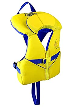 Stohlquist Waterware Child PFD Life Jacket - Yellow + Blue 30-50 lbs - Coast Guard Approved Life Vest for Kids Support Collar Grab Handle Fully Adjustable with Quick Release Buckle
