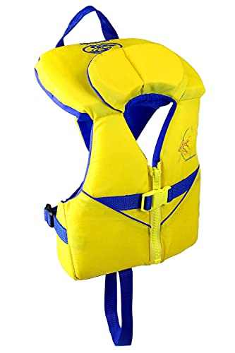 Stohlquist Infant PFD Life Jacket - Yellow + Blue, 8-30 lbs - Coast Guard Approved Life Vest for Toddlers, Support Collar, Grab Handle, Fully Adjustable with Quick Release Buckle