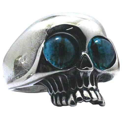 (A) 指輪 リング メンズ 人気 ブルーアイスカルステンリング(ORA035) サイズ/29号サージカルステンレス316L 骸骨 ドクロ シルバー ジルコニア クリスタル シンプル 青い目