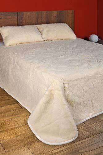 Manta de lana de merino natural de regalo con 2 fundas de almohada de lana merina.