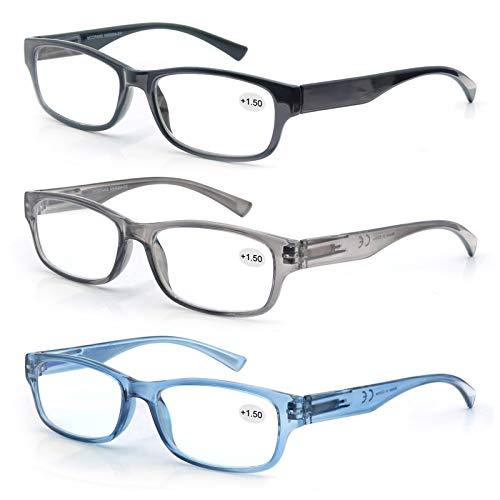 MODFANS 3 Pack Plastic Frame Spring Hinges Reading Glasses Vintage Quality Comfort for Men and Women +1.00