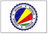Seychellen-Flagge. Vintage Reisestempel mit r&em Text Kühlschrankmagnet