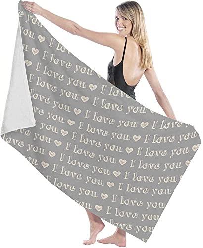 Toallas de baño, Elegante Gris I Love You Toalla de baño, Ducha de baño Grande, Manta para Adultos, Tela Ultra Suave para Deportes en Barco
