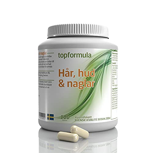 Vitamin för Hår, Hud & Naglar 100 Kapslar | Kosttillskott hår | Åkerfräkenextrakt | Hirsextrakt | Hårvitamin | Hårtabletter | Topformula