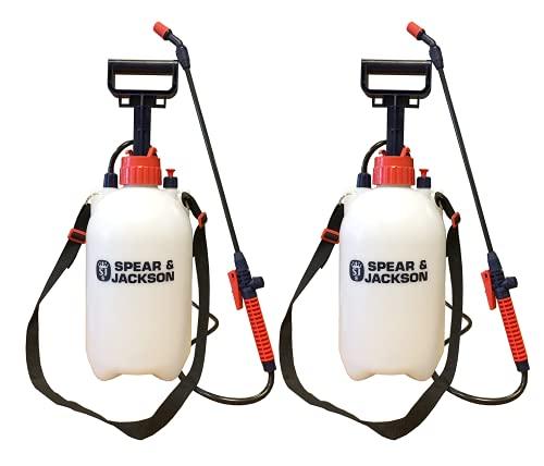 Spear and Jackson - Garden Sprayer - 2 x 5 Litre Pressure Sprayer - Use to Spray Mould Remover, Lichen Remover, Algae Remover and Fertiliser