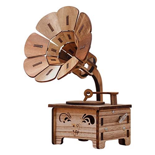 VOSAREA Grammophon Spieluhr Holz Spieldose Musikspieldose Geschenk für Kinder Erwachsene