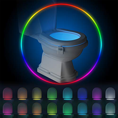Rechargeable Toilet Bowl Night Light,16 Colors Motion Sensor Detection LED Lights, Funny & Unique Birthday Gifts Idea for Dad, Men, Kids - Cool Fun Gadget, Best Gag Stocking Stuffers