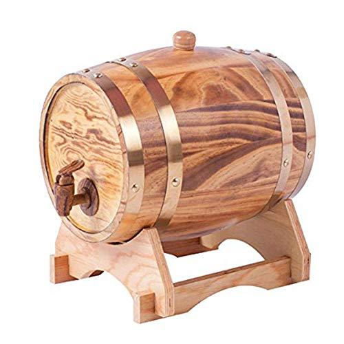 Tcbz Barril de Roble de 3 litros Barril de Madera para Almacenamiento o envejecimiento Barriles de Vino y licores Soporte para Vino con Grifo para Cerveza Whisky Rum Port, B