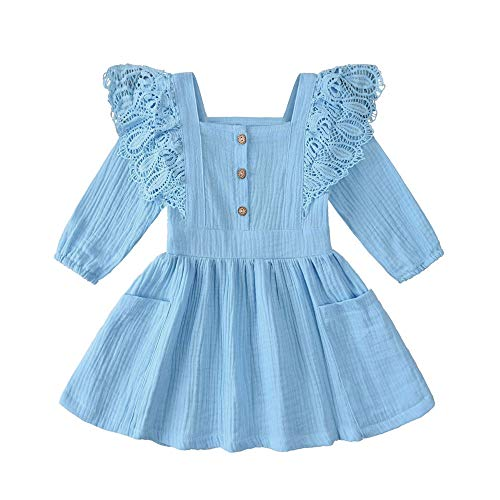 Toddler Baby Girl Cotton Linen Button Pocket Ruffle Solid Floral Dresses (Blue+Lace, 2-3 T)