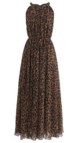 L'VOW Brown Leopard Print Watercolor Maxi Slip Dress Halter Neck Flowy Dresses for Women (Brown)