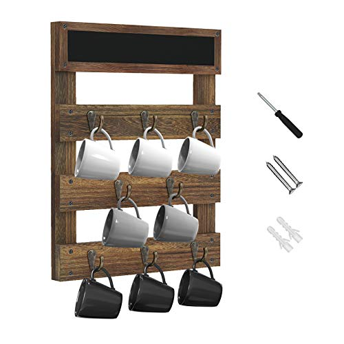 Greenstell Coffee Mug Holder Wall Mounted Rustic Wood Cup Organizer for Home Kitchen Display Storage and Collection Brown