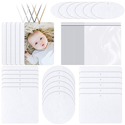 30 Pieces Sublimation Air Freshener Blanks Air Freshener Sheets for Car and Home Polyester Felt Freshener Blanks with 100 Elastic Strings and 50 Bags for DIY HTV Ink Heat Press, 5 Shapes