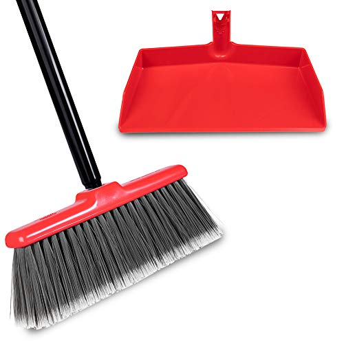 Fuller Brush Fiesta Red Kitchen Broom Plus Clip-On Dustpan – Heavy Duty Floor Sweeper with Steel Handle & Fine Bristles - Dust Sweeping for Home/Commercial Kitchen & Warehouse Floors – Made in USA